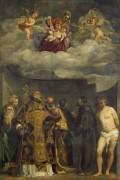 Мадонна с Младенцем в славе со святыми Екатериной, Николаем, Петром, Себастьяном, Франциском и Антонием Падуанским - Тициан Вечеллио