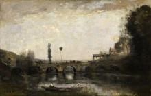 Речной пейзаж с мостом - Коро, Жан-Батист Камиль