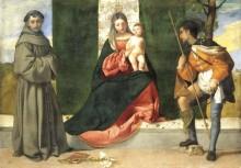 Мадонна с Младенцем, святого Антония Падуанского и святого Роха - Тициан, Вечеллио