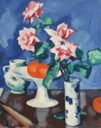 Розовые розы в сине-белой вазе с апельсинами и кувшин - Пепло, Самуэль Джон