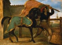 Скачки. Лошадь под зеленой с золотом попоной - Жерико, Теодор Жан Луи Андре