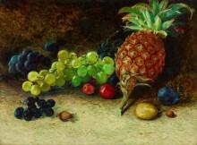 Натюрморт с ананасом, виноградом, орехами и сливами - Гримшоу, Джон Аткинсон
