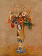 Полевые цветы в высокой вазе - Редон, Одилон