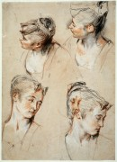 Четыре этюда женских голов - Ватто, Жан Антуан