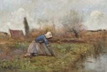 Девушка, собирающая одуванчики на берегу реки - Коро, Жан-Батист Камиль