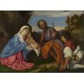 Святое Семейство с пастухом - Тициан Вечеллио