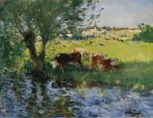 Коровы в тени ивы - Монтезен, Пьер-Эжен