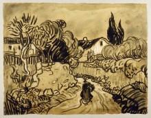 Пейзаж Овера (Дорожка между садовыми стенами) (Path between Garden Walls (Auvers Landscape)), 1890 - Гог, Винсент ван