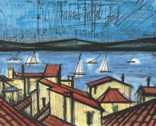 Крыши домов и парусные лодки. Сен-Тропе - Бюффе, Бернар