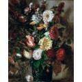 Букет цветов в керамической вазе - Делакруа, Эжен