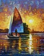 Закат солнца на озере - Афремов, Леонид (20 век)