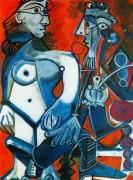 Стоящая обнаженная и мужчина с трубкой, 1968 - Пикассо, Пабло