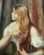 Блондинка, расчесывающая волосы - Ренуар, Пьер Огюст