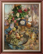 Натюрморт с розами и фруктами, 1921 - Коровин, Константин Алексеевич