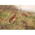 Пейзаж с зайцами в поле - Дратман, Карл