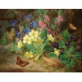 Альпийские цветы с фиалками и бабочка - Лауэр, Йозеф