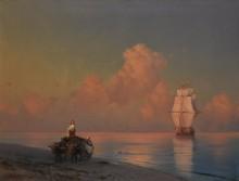 Повозка, запряженная быками на берегу моря - Айвазовский, Иван Константинович