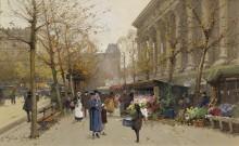 Цветочный рынок, площадь Мадлен - Гальен-Лалу, Эжен