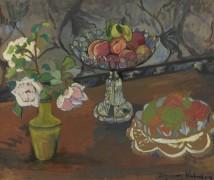 Натюрморт с букетом цветов и вазой с фруктами - Валадон, Сюзанна