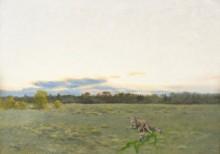 Рыжая лисица с щенятами на лугу - Лильефорс, Бруно