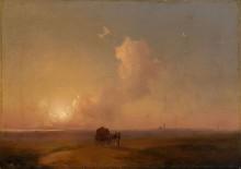 Прибрежный пейзаж на закате дня с повозкой, запряженной верблюдами - Айвазовский, Иван Константинович