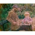Эжен Мане с дочерью в саду в Буживале - Моризо, Берта
