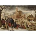Зимний пейзаж с фигуристами - Брейгель, Питер (Младший)