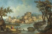 Здания и люди возле реки с порогами - Мариеши, Мишель