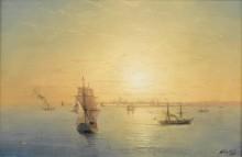 Российские корабли на закате дня - Айвазовский, Иван Константинович