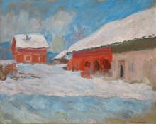 Красные дома в Бьёрнегарде, Норвегия - Моне, Клод