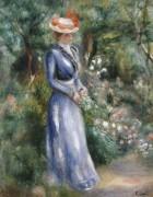 Женщина в голубом платье в садах Сен-Клу - Ренуар, Пьер Огюст