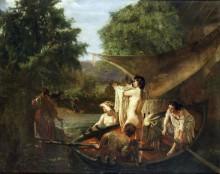 Купальщицы в лодке - Курбе, Гюстав