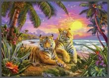 Тигры на фоне пейзажа - Красный, Ян Патрик (20 век)