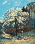 Пейзаж с цветущей вишней - Курбе, Гюстав