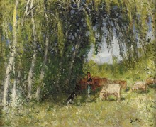 Стадо в березовой роще возле Крез (The Herd in Birch Grove near the Creuse) - Монтезен, Пьер-Эжен