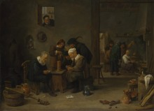 Двое мужчин играют в карты на кухне -  Тенирс, Давид