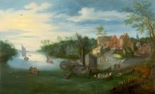 Речной пейзаж с причалом - Брейгель, Ян (младший)