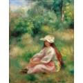 Девушка в розовом на фоне пейзажа - Ренуар, Пьер Огюст