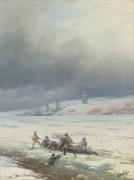 Спасение лошади и повозки из-подо льда - Айвазовский, Иван Константинович