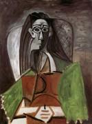 Сидящая женщина со скрещенными руками и зелеными рукавами, 1960 - Пикассо, Пабло