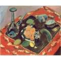 Посуда и фрукты на красно-черном ковре - Матисс, Анри
