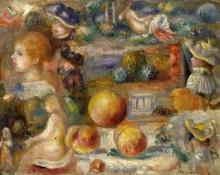 Этюд с женскими головками и персиками - Ренуар, Пьер Огюст