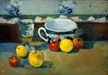 Бокал, чашка и фрукты - Сезанн, Поль