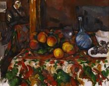 Натюрморт с персиками, графином и силуэтом - Сезанн, Поль