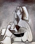 Сидящая женщина, левый профиль, колени подняты, 1962  P - Пикассо, Пабло