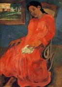 Женщина в красном платье, 1891 - Гоген, Поль