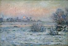 Снежный пейзаж на закате дня - Моне, Клод