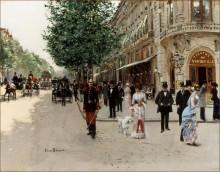 Парижский бульвар у входа в театр Водевиль - Беро, Жан
