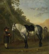 Мальчик держащий серую лошадь - Калрайт, Абрахам ван