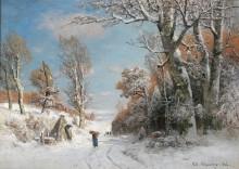 Зиний пейзаж с собирательницей хвороста - Швайцер, Адольф Густаф